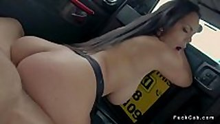 Curved black brown fucks in fake taxi