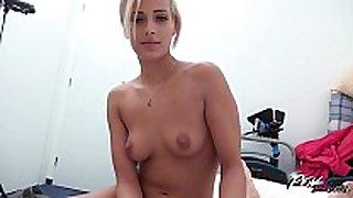 Dude has big cock & biggest loads of cum for blonde...