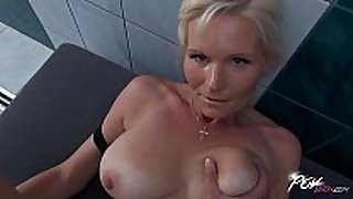 Povbitch busty milf cleaning sexually slutty white honeys was bad & pun...