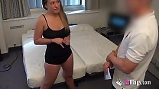 Girl with great love muffins bonks a lustful room service...