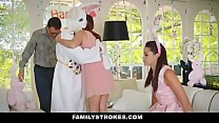 Familystrokes - cute legal age teenager screwed by easter bunn...