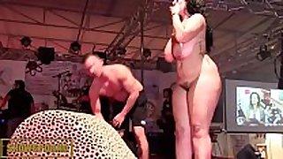 Bbw black brown fucking big cock on stage
