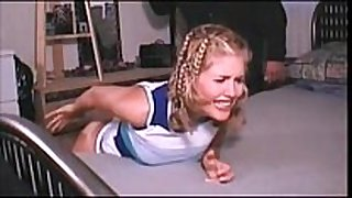 Amateur legal age teenager golden-haired spanked on couch - watch live...