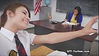 3 kinky coeds on busty teacher