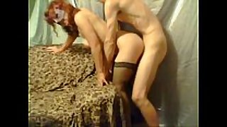 Milf in thigh highs bent over and pounded