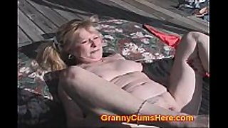 Granny screwed by black gang in yard