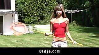 Teenie schoolgirl swallowing cum outdoor doggy ...