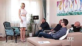 Fantastic five busty blond sucks down 4 hot loads
