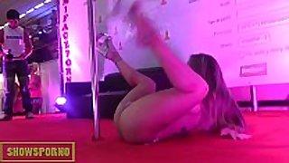 Blonde pole dancer show