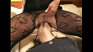 Pantyhose face sitting and oral stimulation sex on a sofa
