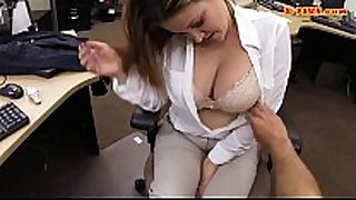 Busty business woman railed by pawn keeper at t...