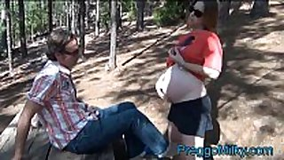 Pregnant preggy anal fucking in the forest