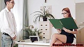 Redhead officebabe susana melo screwed closeup