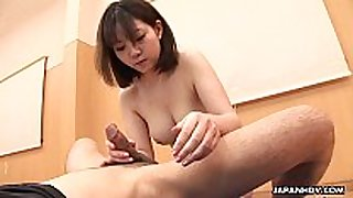 Titty fucking the cock with her oriental face gap