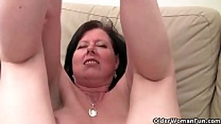 British mom julie with her big milk cans and curly p...