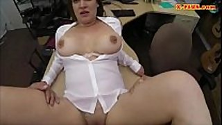 Sexy business woman gangbanged by pawnkeeper to ear...