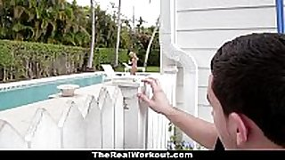 Therealworkout - lascivious dark dick doxies copulates the pool...