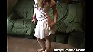 Petite legal age teenager kitty flashing her panties in a tin...