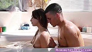 Naturaltitted milf in bath trio - moms in control