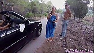 Jenny glam screwed on a public road and sucks a ...