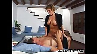 Busty amateur girlfriend home act with cum o...