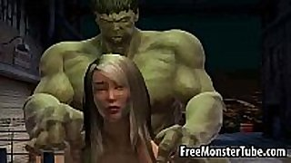 Foxy 3d sweetheart gets drilled by the incredible hulk...