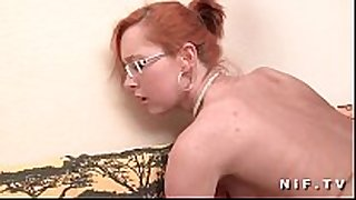 Small titted french redhead receives a large penis in ...