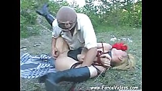 Masked fellow rapes a chicks hard in garden, extrem...