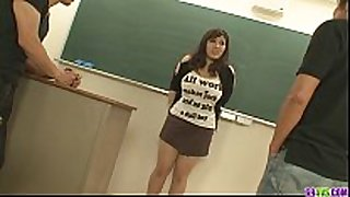 Plump and breasty student screwed by 2 hung and ...