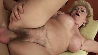 Amateur old grandmother receives drilled