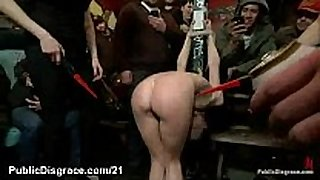 Tied up playgirl cattle proded and group sex drilled ...