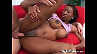 Big boobed ebony receives juicy immodest cleft pounded