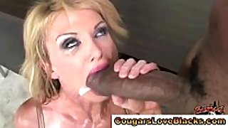 Blonde older skank gets interracial ding-dong juice flow