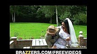 Busty black brown hair bride jasmine jae fucks the brot...
