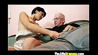 Teen giving old fellow hard penis