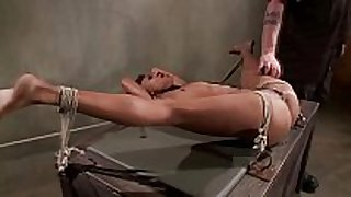 Tied up ebony sub obeys her master during their...