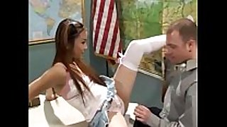 Teen cutie in white nylons fucked on a desk