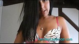 Horny tanned dark brown in school outfit doing la...