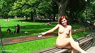 Sweet redhead kety in nature's garb on public streets