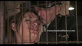 Busty hot golden-haired getting cuffed and bound