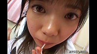 Young japanese legal age teenager gives a ideal oral-stimulation fun job and...