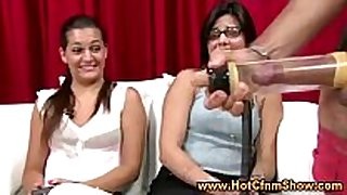 Cfnm babes see man play with his strapon in real...