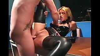 Uniformed female fucking in latex underware