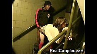 Hot pair interracial in stairs