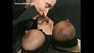 German dom shouts at thrall and spanks her on...
