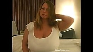 Chubby blonde with large melons