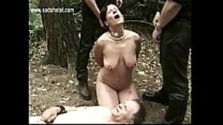 Hot and sexually slutty slave fastened to tree with got playe...