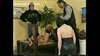 Slave lying on table got her legs widen by mas...