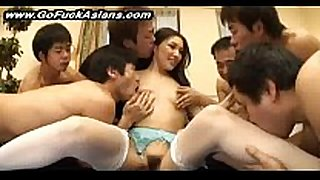 5 chaps share a sexually excited oriental legal age teenager