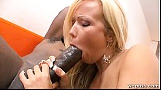 Blonde milf can not live out of large black penis